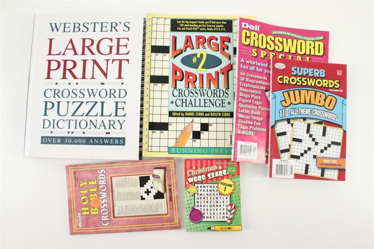 Lot Websters Large Print Crossword Puzzle Dictionary Puzzle Books - Large Print Crossword Puzzle Dictionary