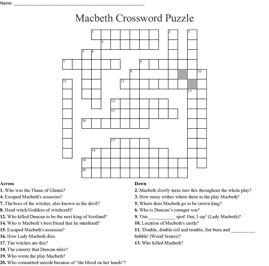 Macbeth Crossword Puzzle Crossword - Wordmint - Printable Tagalog Crossword Puzzle