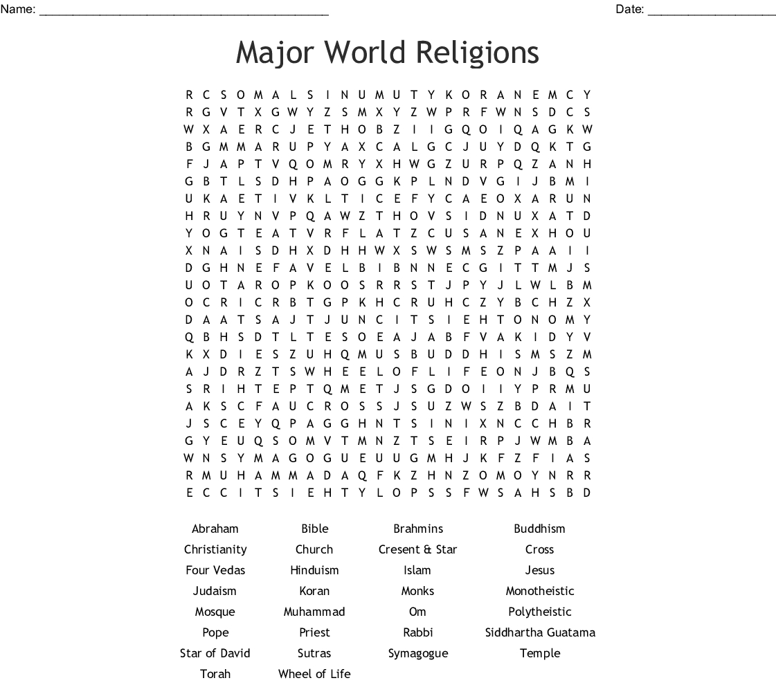 Major World Religions Word Search - Wordmint - Religion Crossword Puzzles Printable