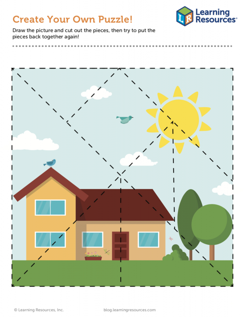 Make Your Own Puzzle Printable! - Learning Resources Blog - Printable House Puzzle