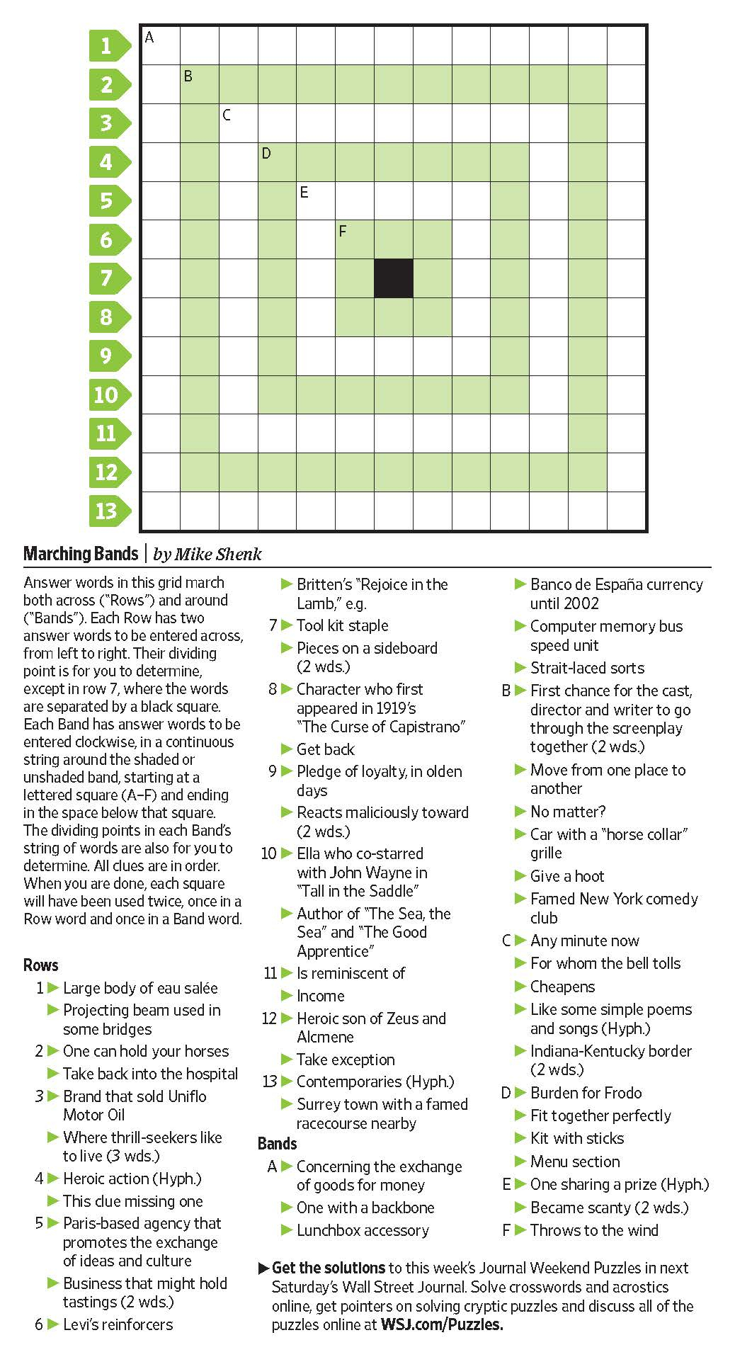 Marching Bands (Saturday Puzzle, Jan. 7) - Wsj Puzzles - Wsj - Wall Street Journal Crossword Puzzle Printable