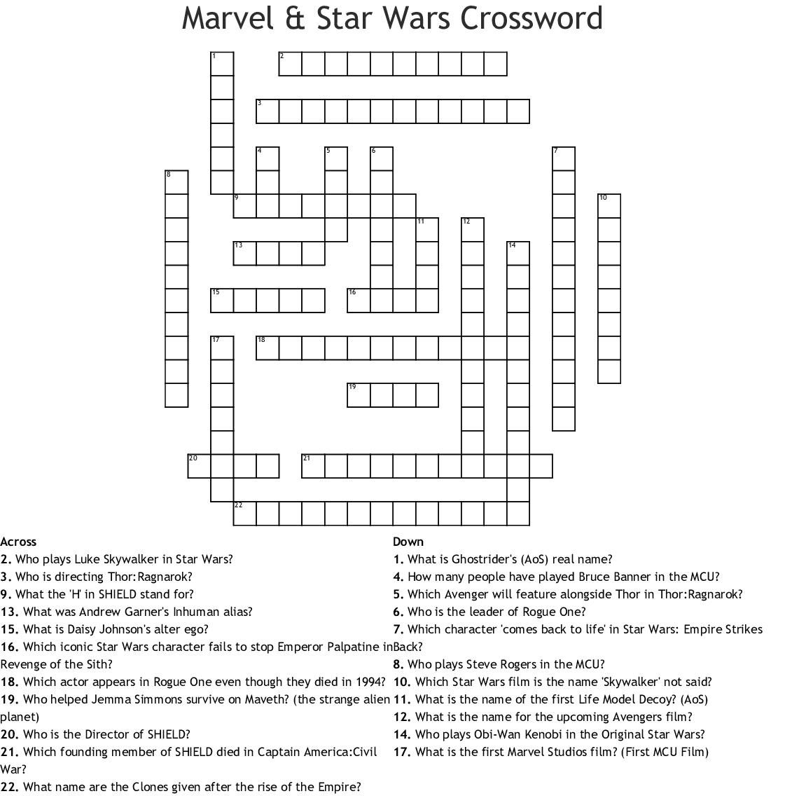 Marvel & Star Wars Crossword - Wordmint - Star Wars Crossword Puzzle Printable