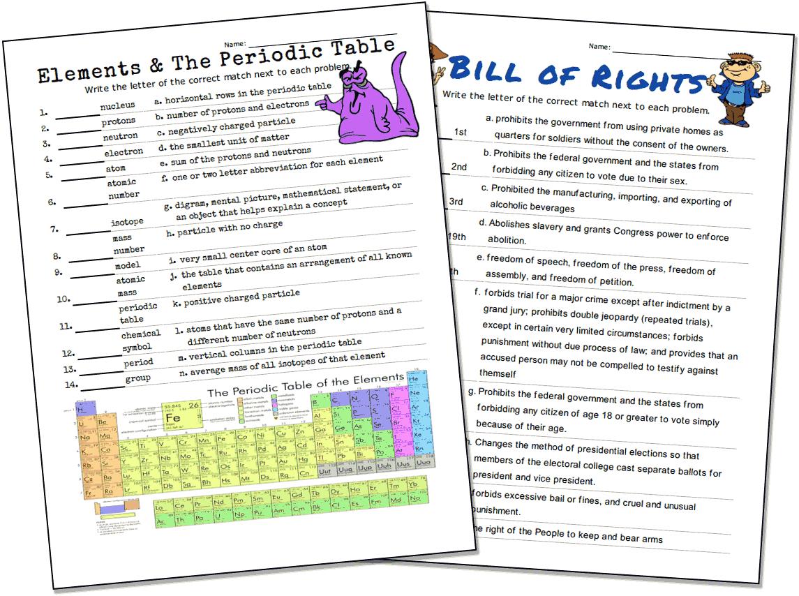 Match-Up Worksheet Maker - Printable Puzzle Creator