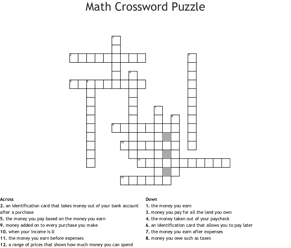 Math Crossword Puzzle Crossword - Wordmint - Printable Crossword Puzzles Money