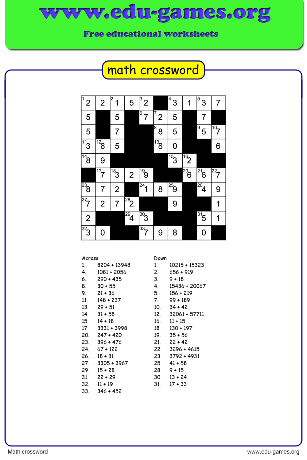 Math Crossword Puzzle Maker - Free Printable Worksheets - Printable Math Crossword Puzzles