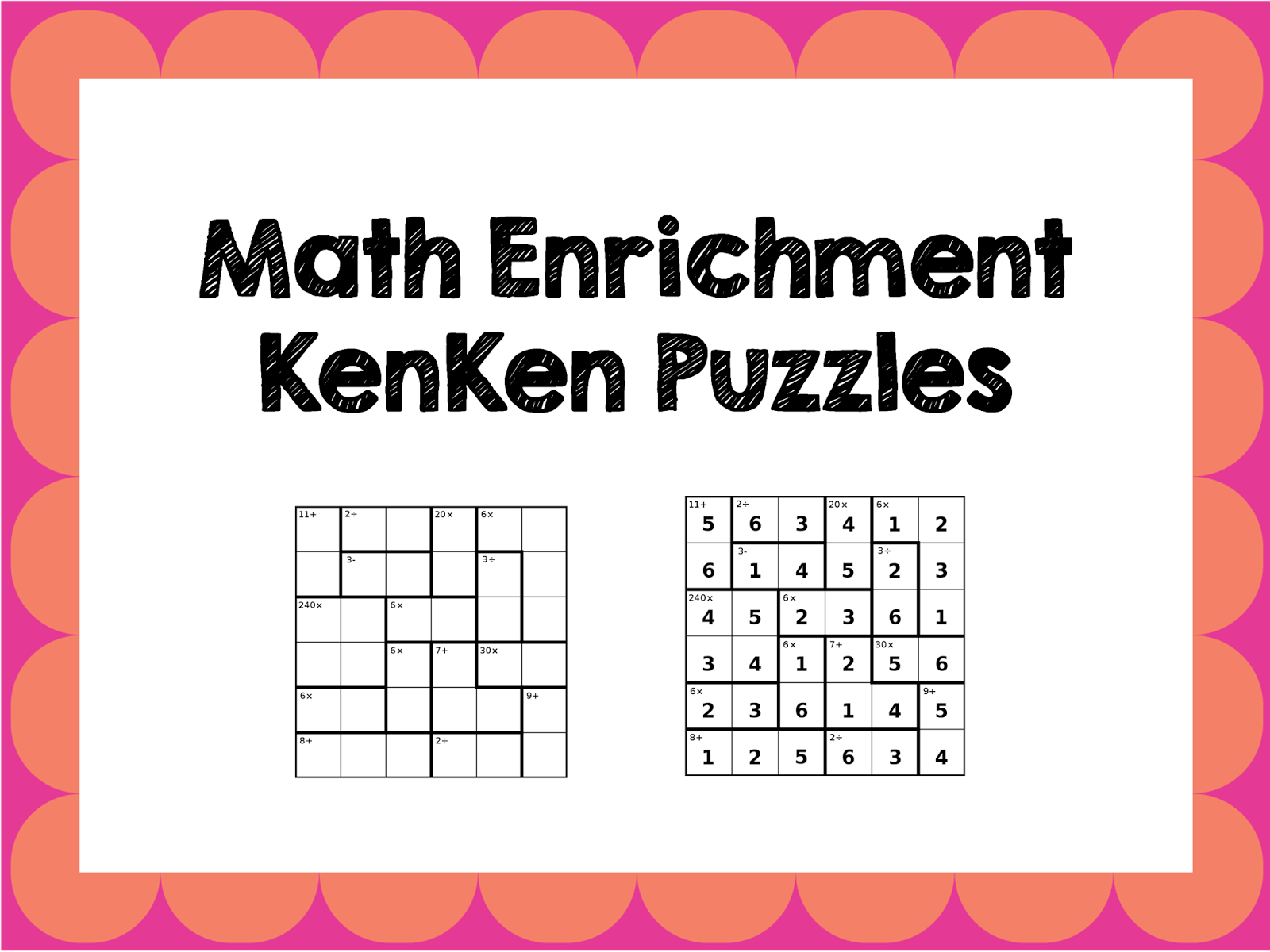 Math Enrichment Freebies - Kenken Puzzles | Ed - Math | Math - Printable Kenken Puzzles