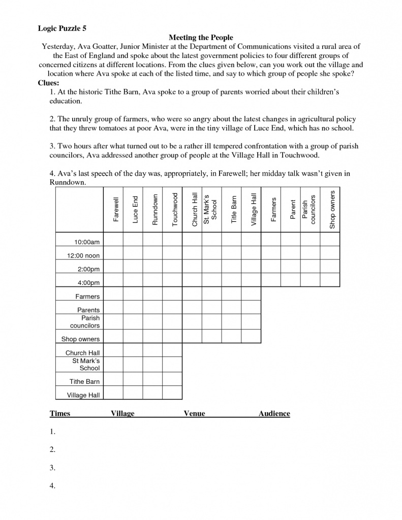 Math Logic Puzzles Worksheets Pdf | Download Them And Try To Solve - Printable Logic Puzzles For Middle School