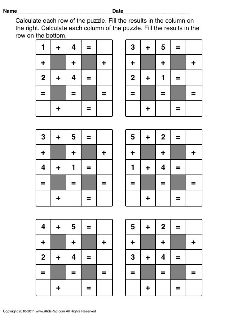 Math Puzzle Activities | Fahmi | Maths Puzzles, Math, Math Games - Printable Math Puzzle Games