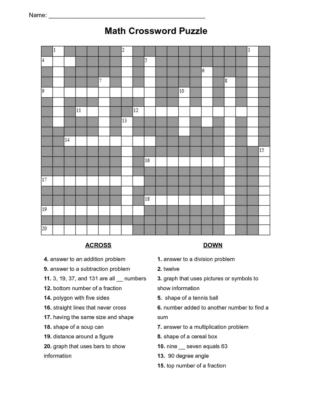 Math Puzzles Printable For Learning | Activity Shelter - Printable Crossword Puzzle Grade 3