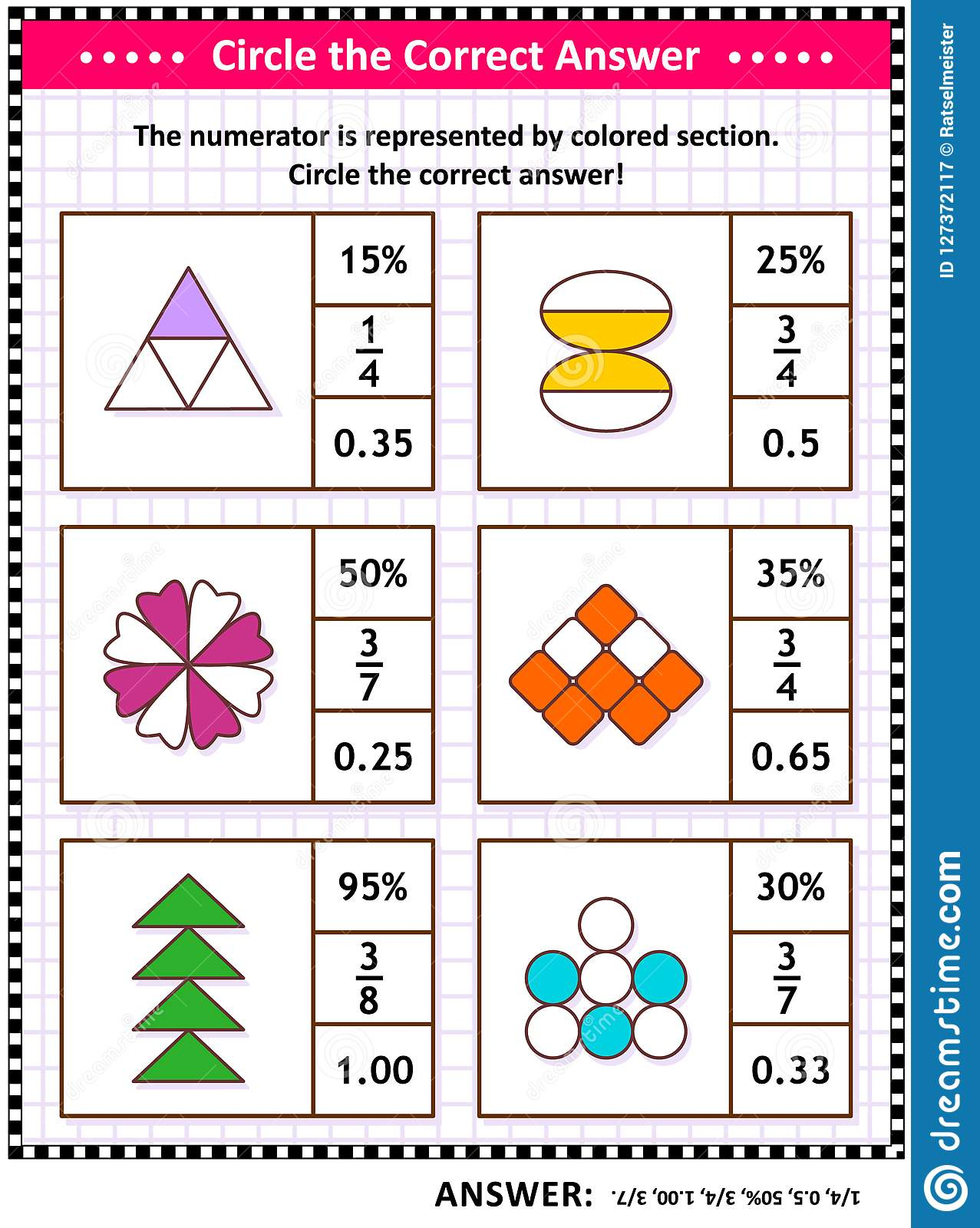 Math Skills Training Puzzle Or Worksheet With Visual Fractions Stock - Worksheet Visual Puzzle