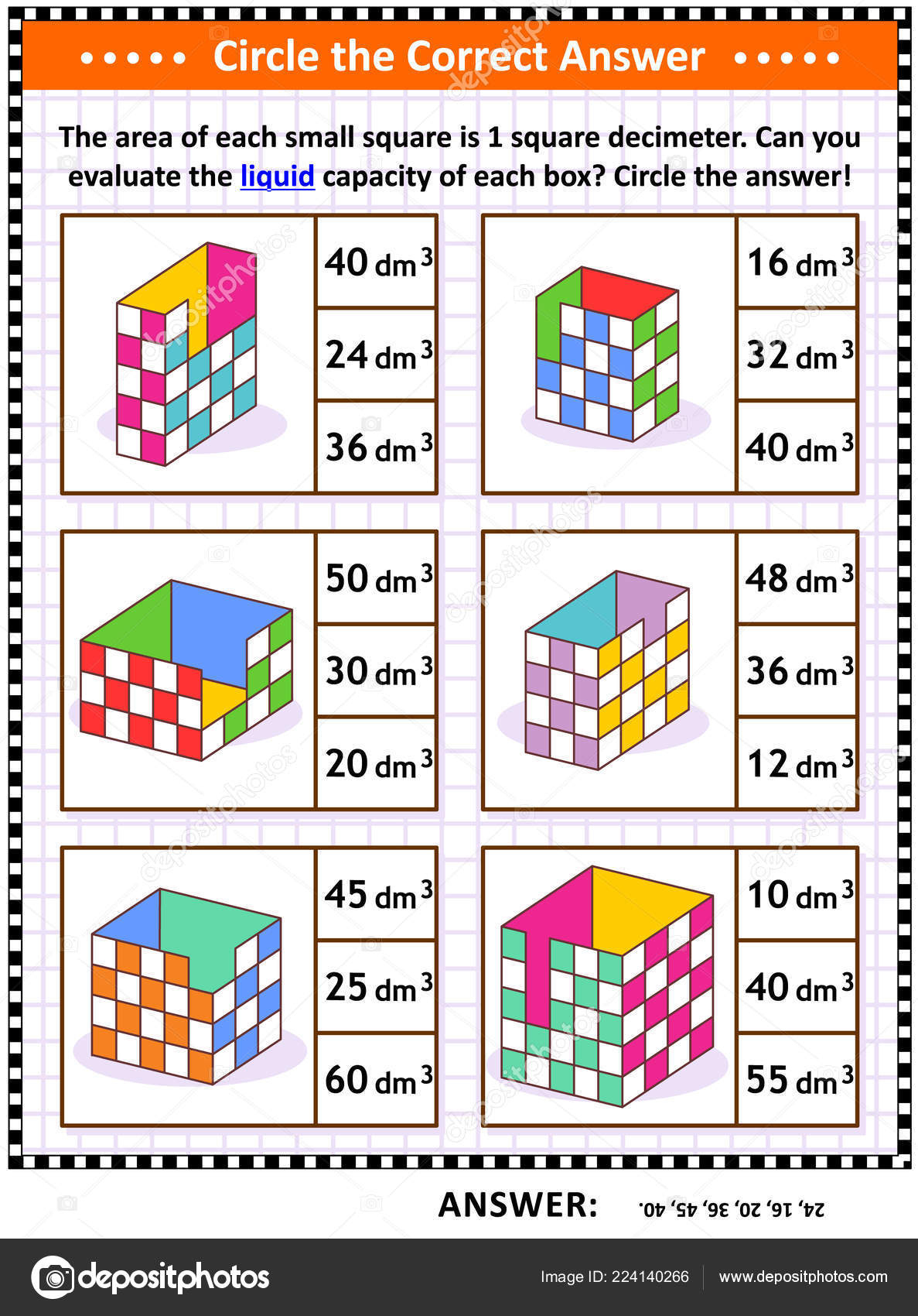 Math Skills Training Visual Puzzle Worksheet Evaluate Liquid - Worksheet Visual Puzzle