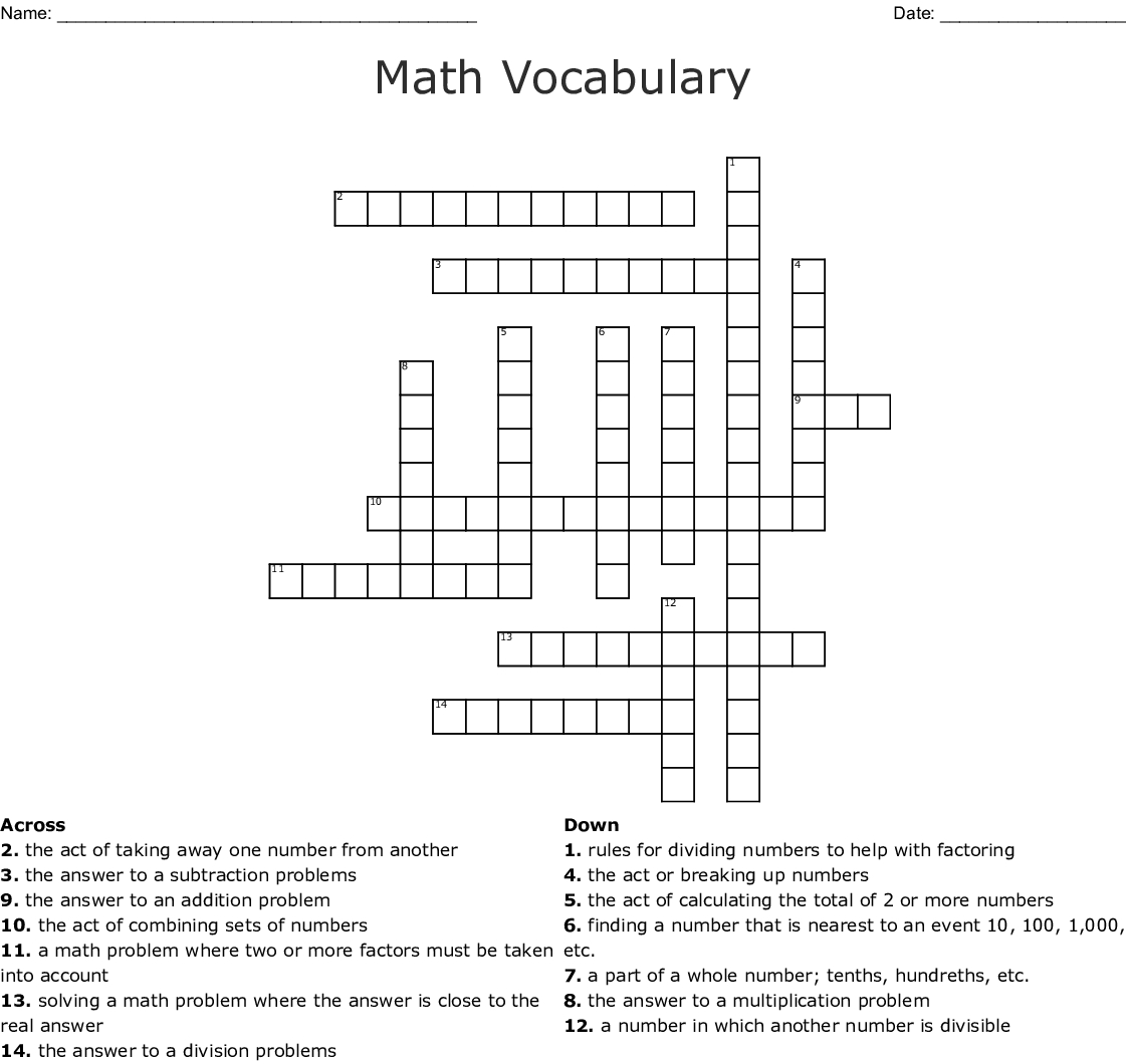 Math Vocabulary Crossword - Wordmint - Math Vocabulary Crossword Puzzles Printable
