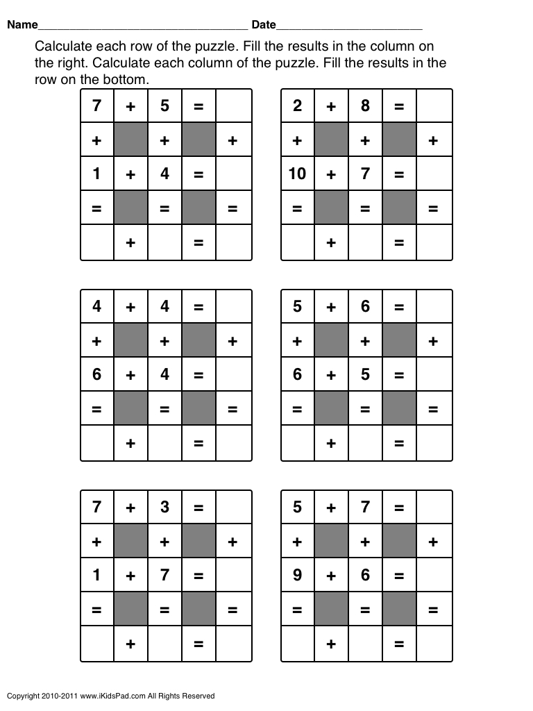 Math Worksheets For 1St Grade - Google Search | Math | Maths Puzzles - Crossword Puzzle 1St Grade Printable
