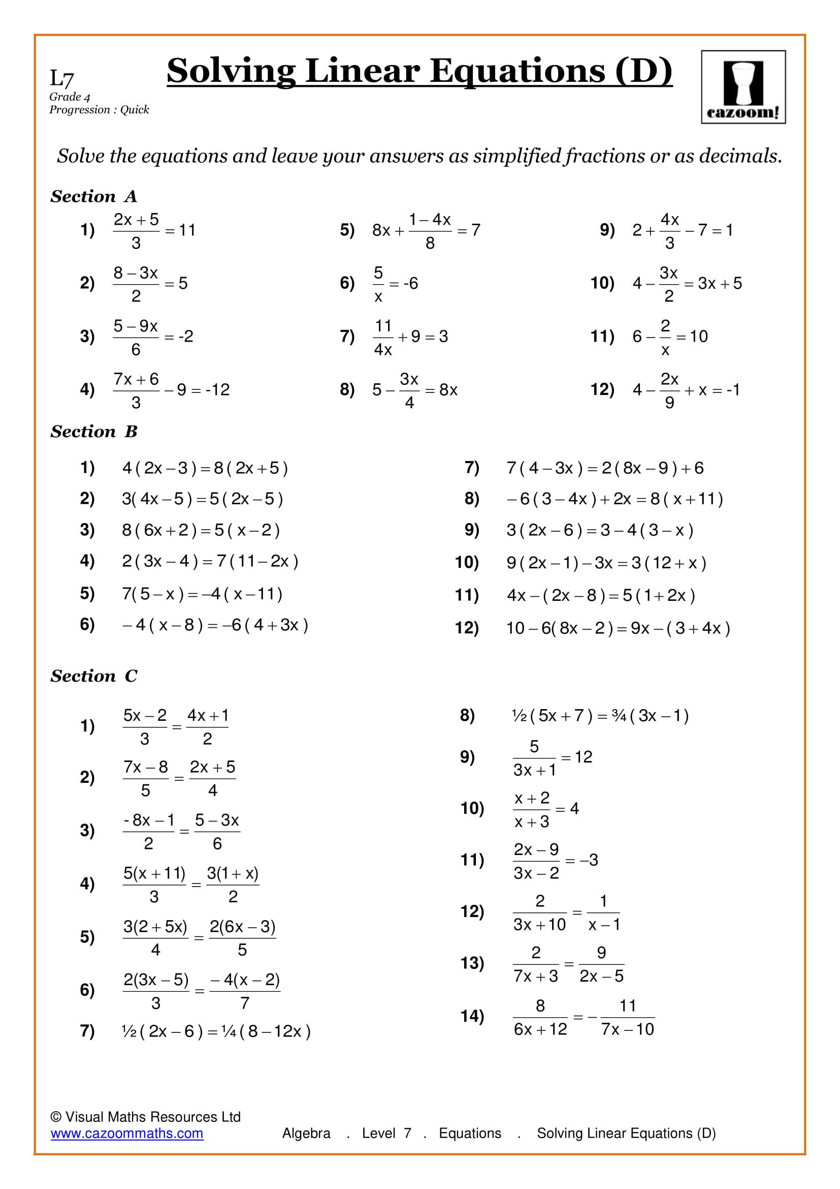 Maths Worksheets | Ks3 & Ks4 Printable Pdf Worksheets - Printable Puzzles Ks3