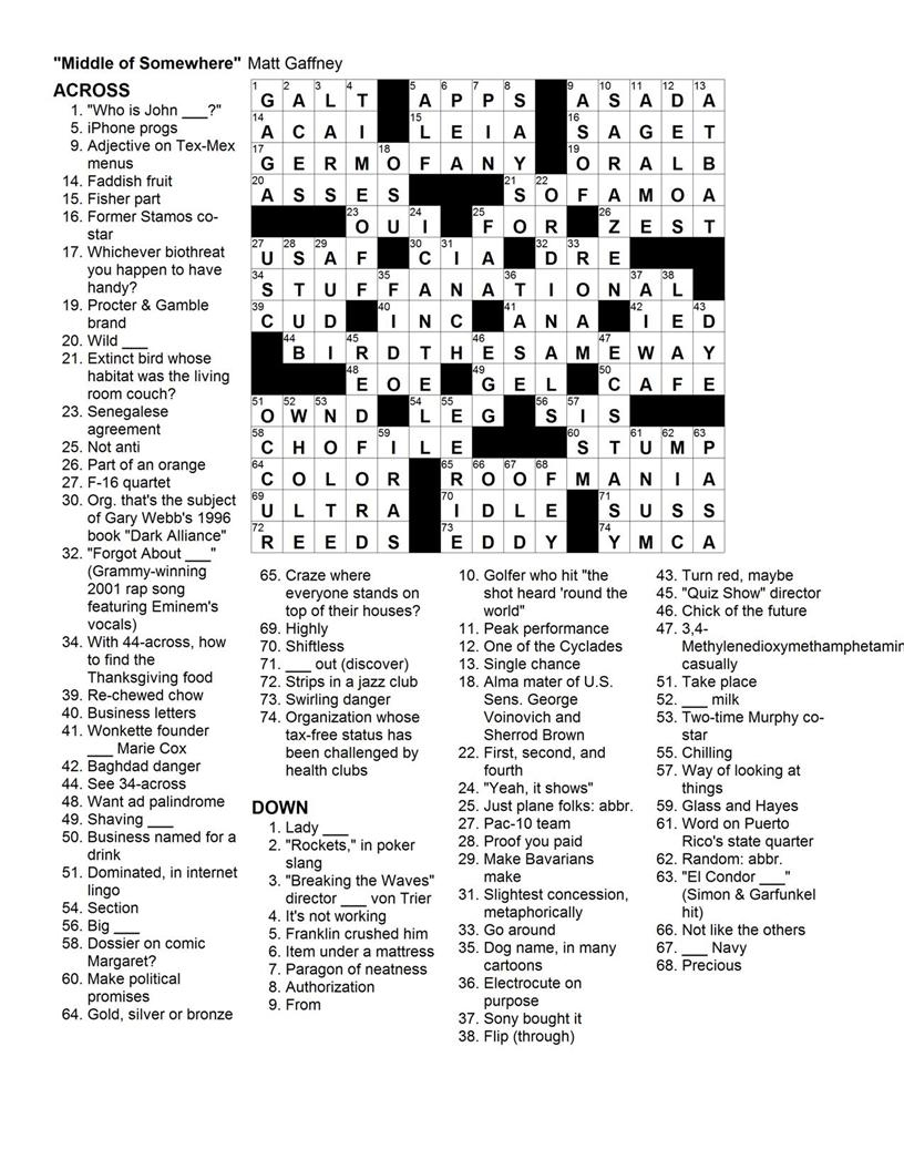 Matt Gaffney's Weekly Crossword Contest: November 2009 - Printable Commuter Crossword Puzzle