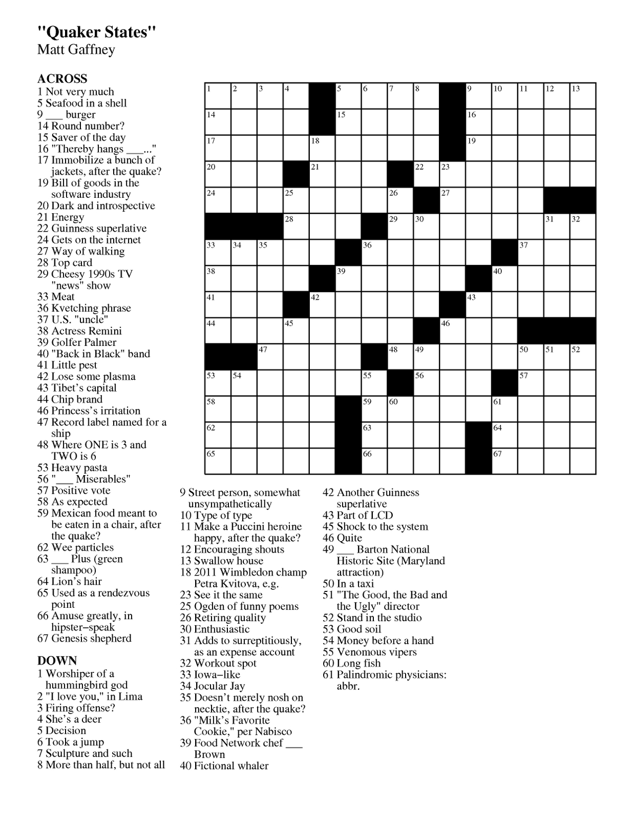 Matt Gaffney's Weekly Crossword Contest: September 2011 - Beatles Crossword Puzzles Printable