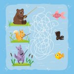 Maze Game Kids Brain Training Education Riddle Puzzle With Animals   Printable Animal Puzzle