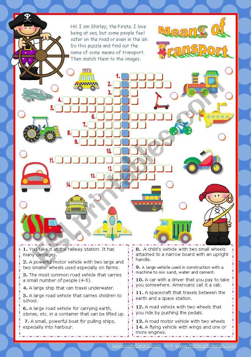 Means Of Transport Crossword Puzzle For Elementary Or Lower - Intermediate Crossword Puzzles Printable
