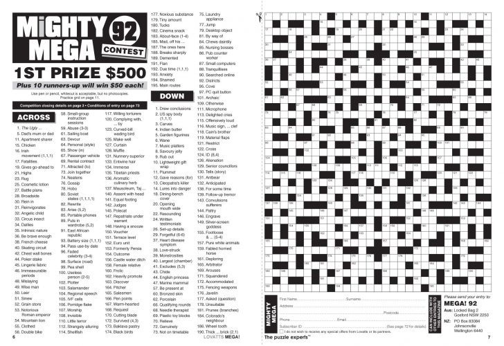 Printable Crossword Nz
