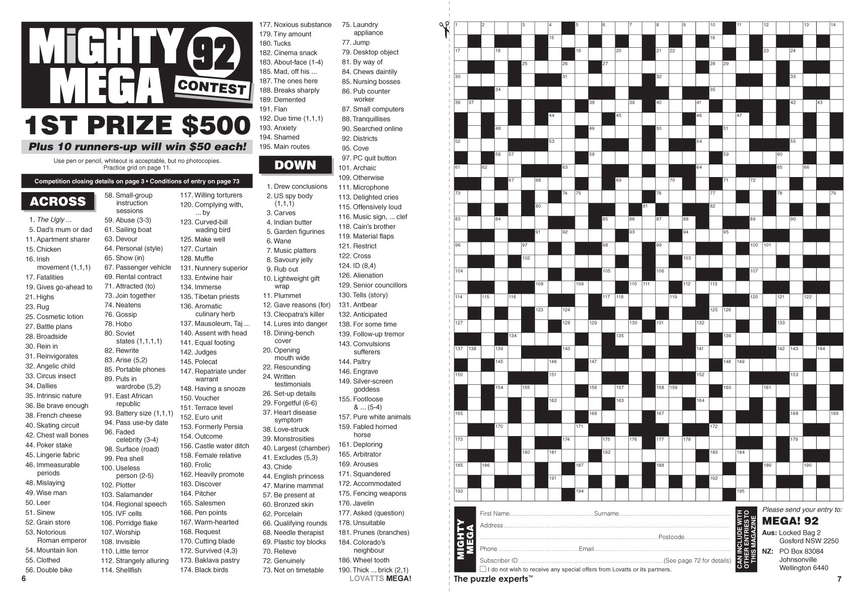 Mega! Crosswords Magazine - Lovatts Crosswords & Puzzles - Printable Crossword Nz