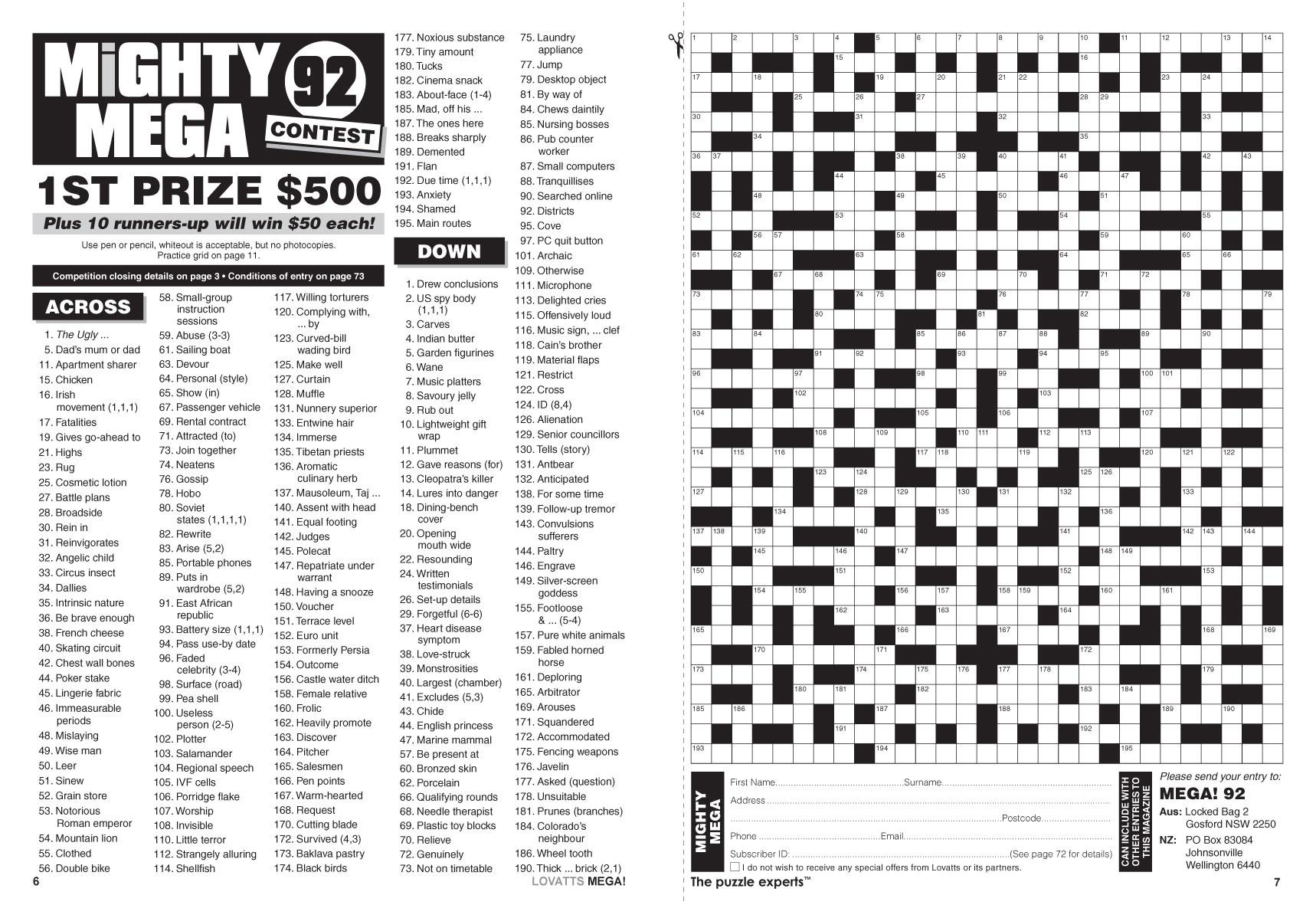 Mega! Crosswords Magazine - Lovatts Crosswords & Puzzles - Printable Lovatts Crosswords