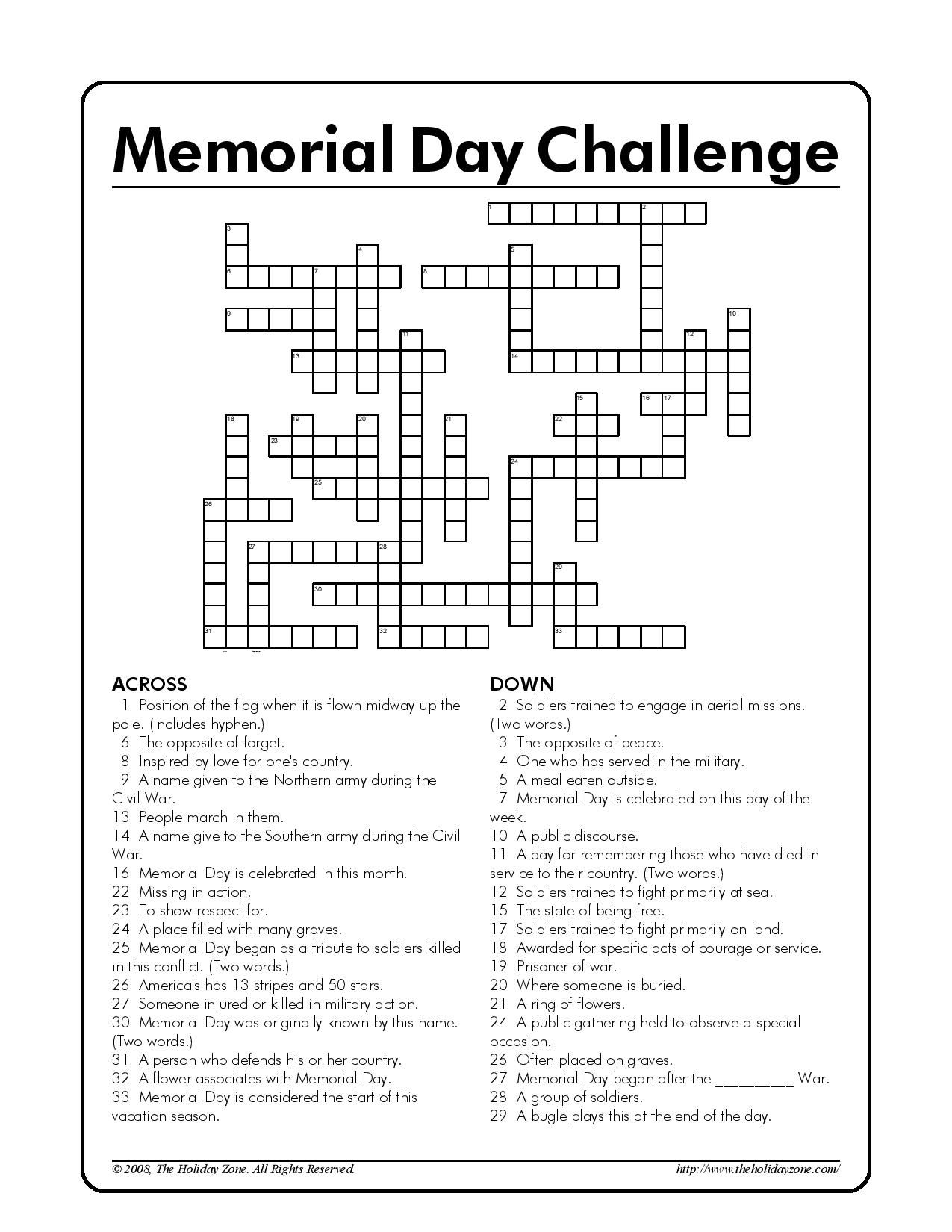 Memorial Day Kids Crossword Puzzle! [Courtesy Of The Holiday Zone - Memorial Day Crossword Puzzle Printable