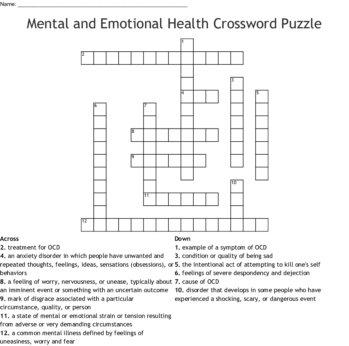 Mental And Emotional Health Crossword Puzzle Crossword - Wordmint - Printable Health Crossword Puzzles