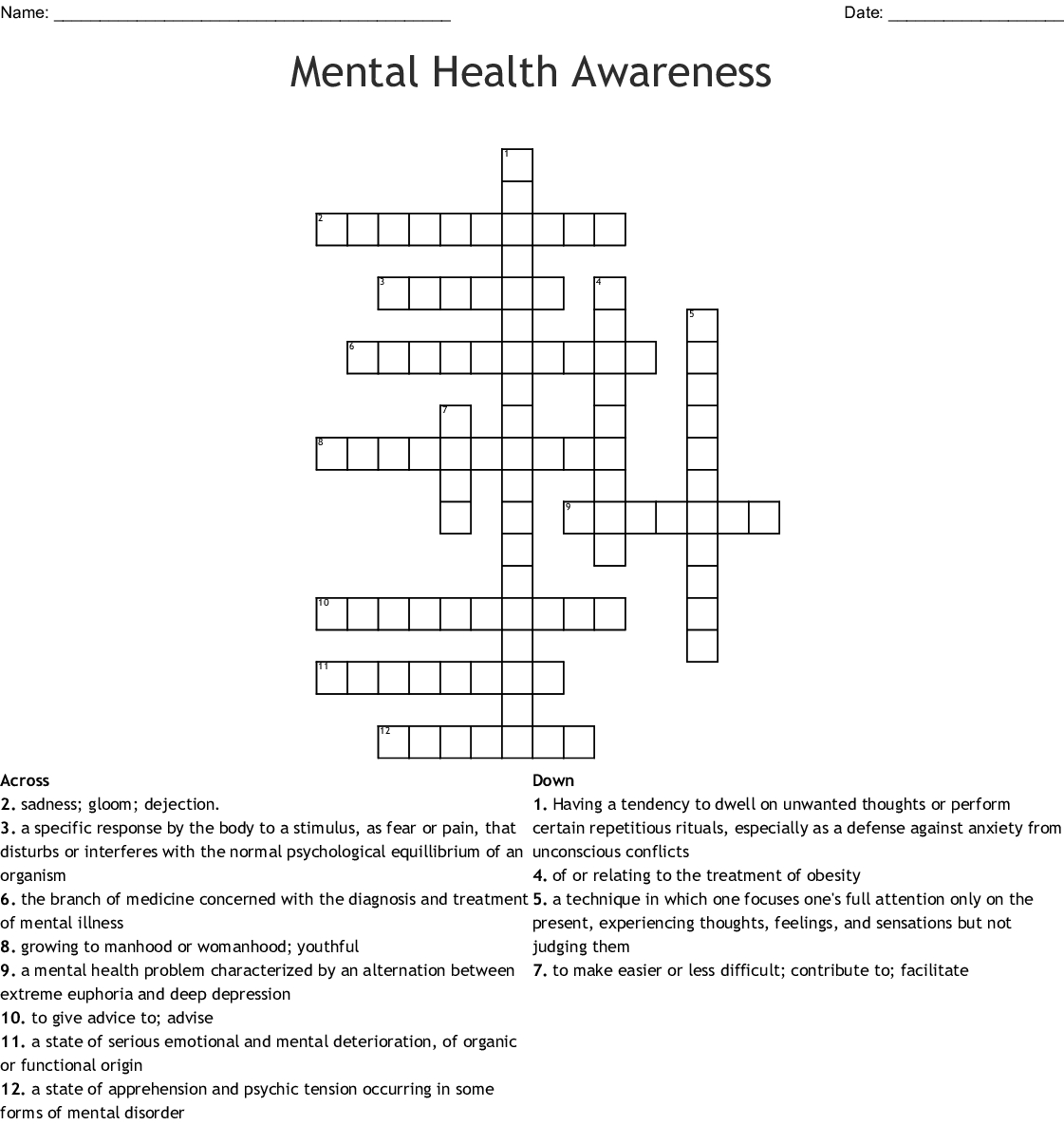 Mental Health Awareness Crossword - Wordmint - Printable Crossword Puzzles For Mental Health