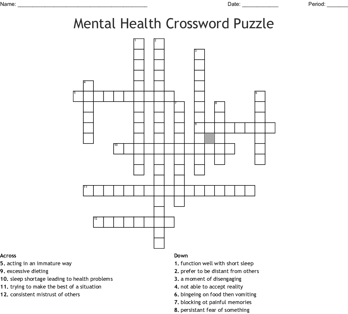 Mental Health Crossword Puzzle Crossword - Wordmint - Printable Mental Health Crossword Puzzle