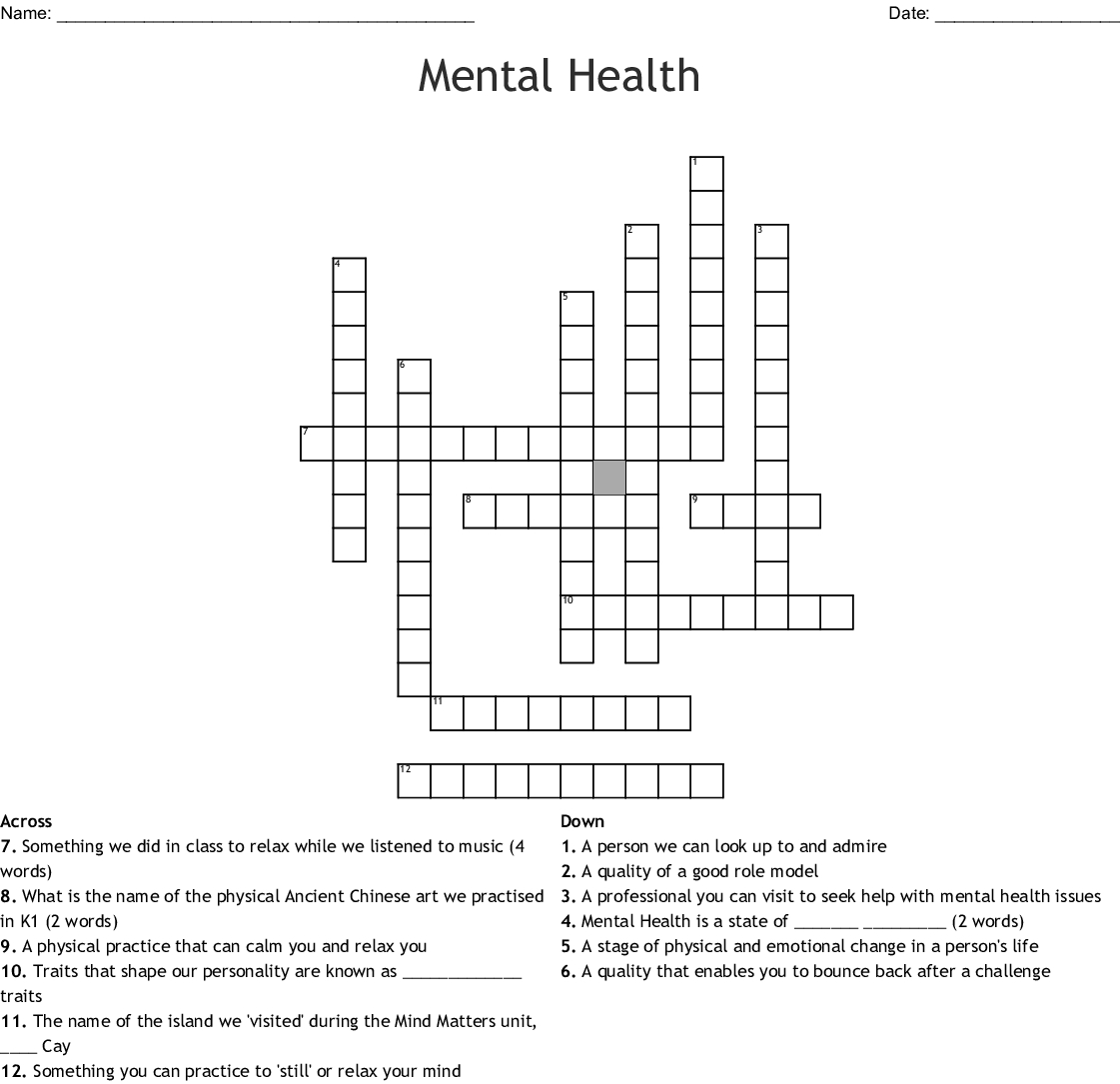 Mental Health Crossword - Wordmint - Printable Mental Health Crossword Puzzle