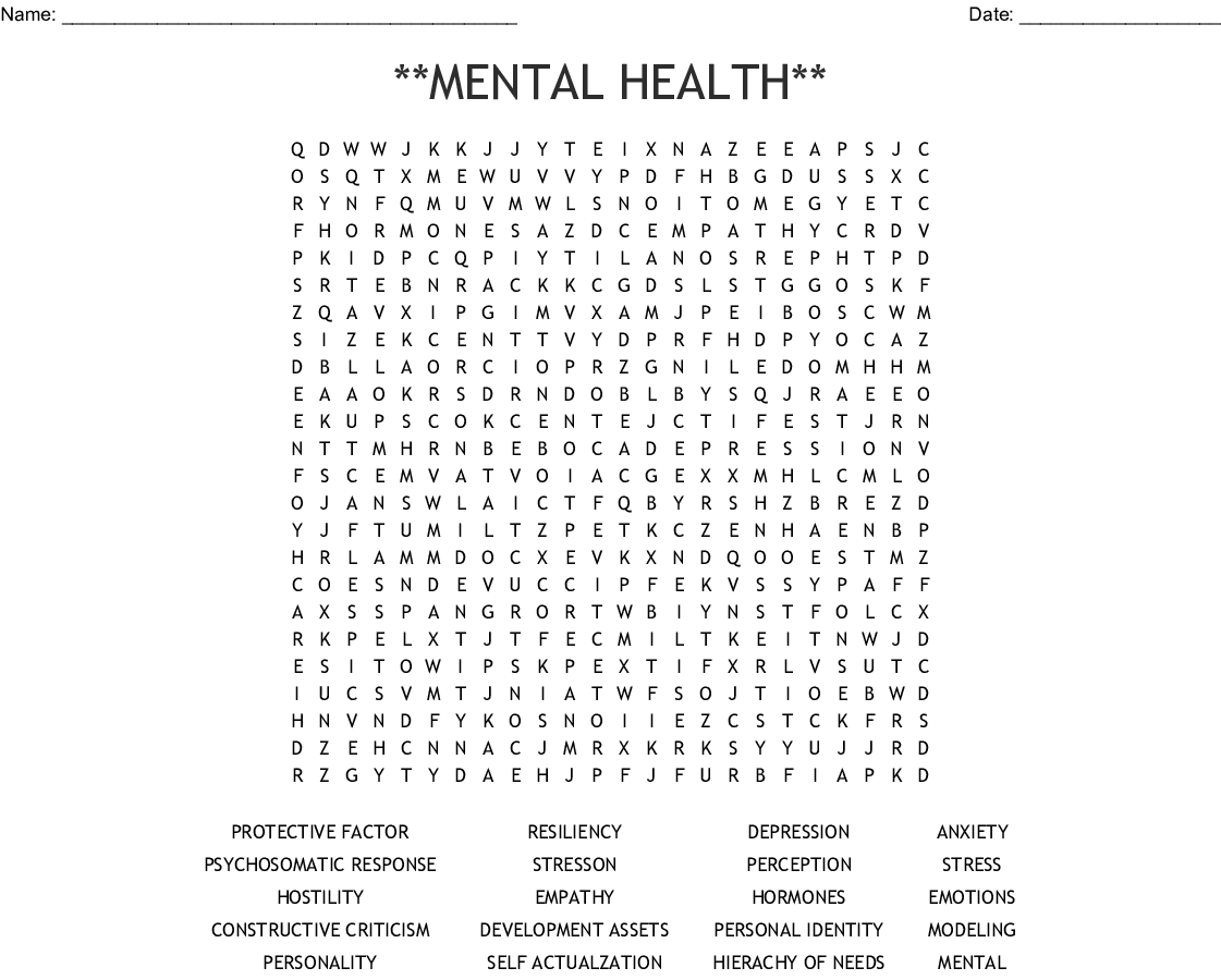Mental Health** Word Search - Wordmint - Printable Mental Health Crossword Puzzle