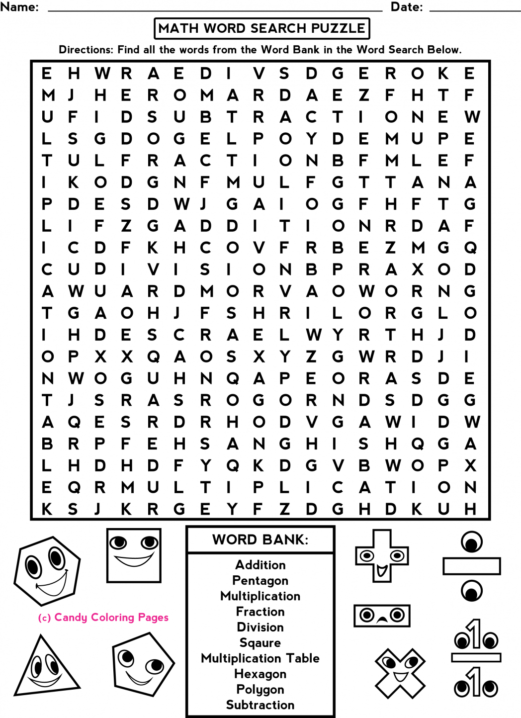 Middle School Free-Printable-Halloween-Math-Worksheets-For-Pre - Printable Halloween Puzzles For Middle School