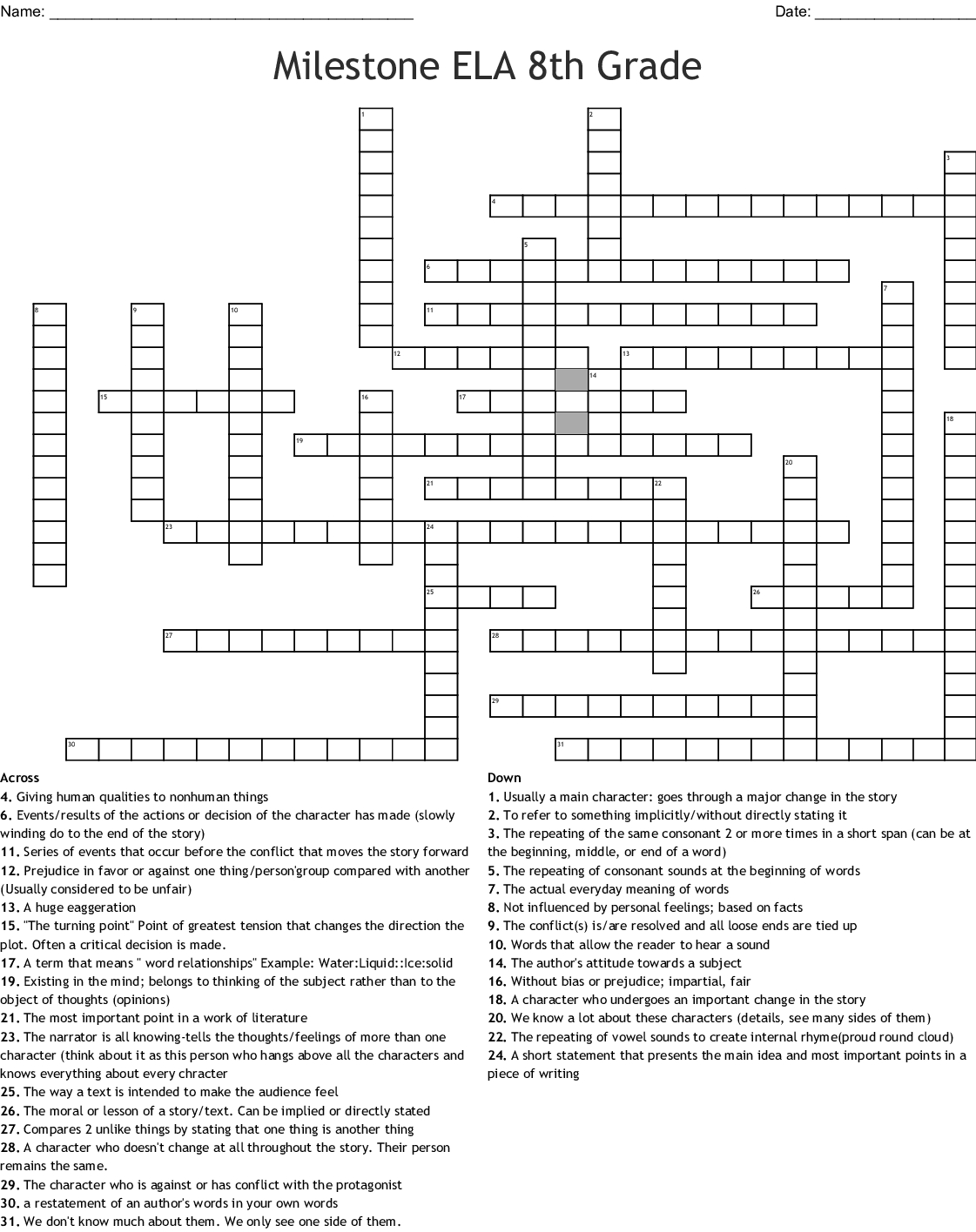 Milestone Ela 8Th Grade Crossword - Wordmint - Crossword Puzzles Printable 8Th Grade