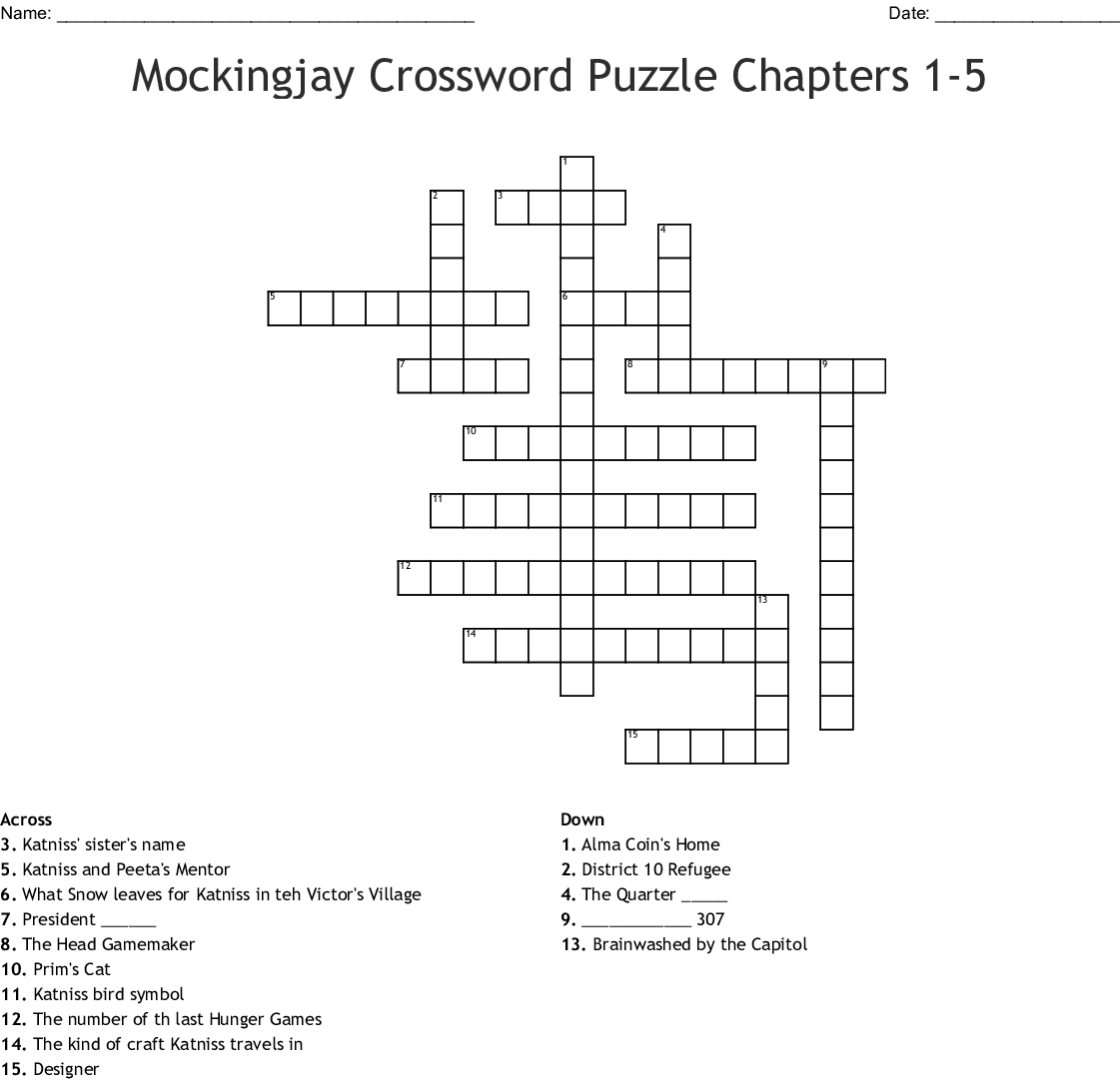 Mockingjay Crossword Puzzle Chapters 1-5 Crossword - Wordmint - Hunger Games Crossword Puzzle Printable