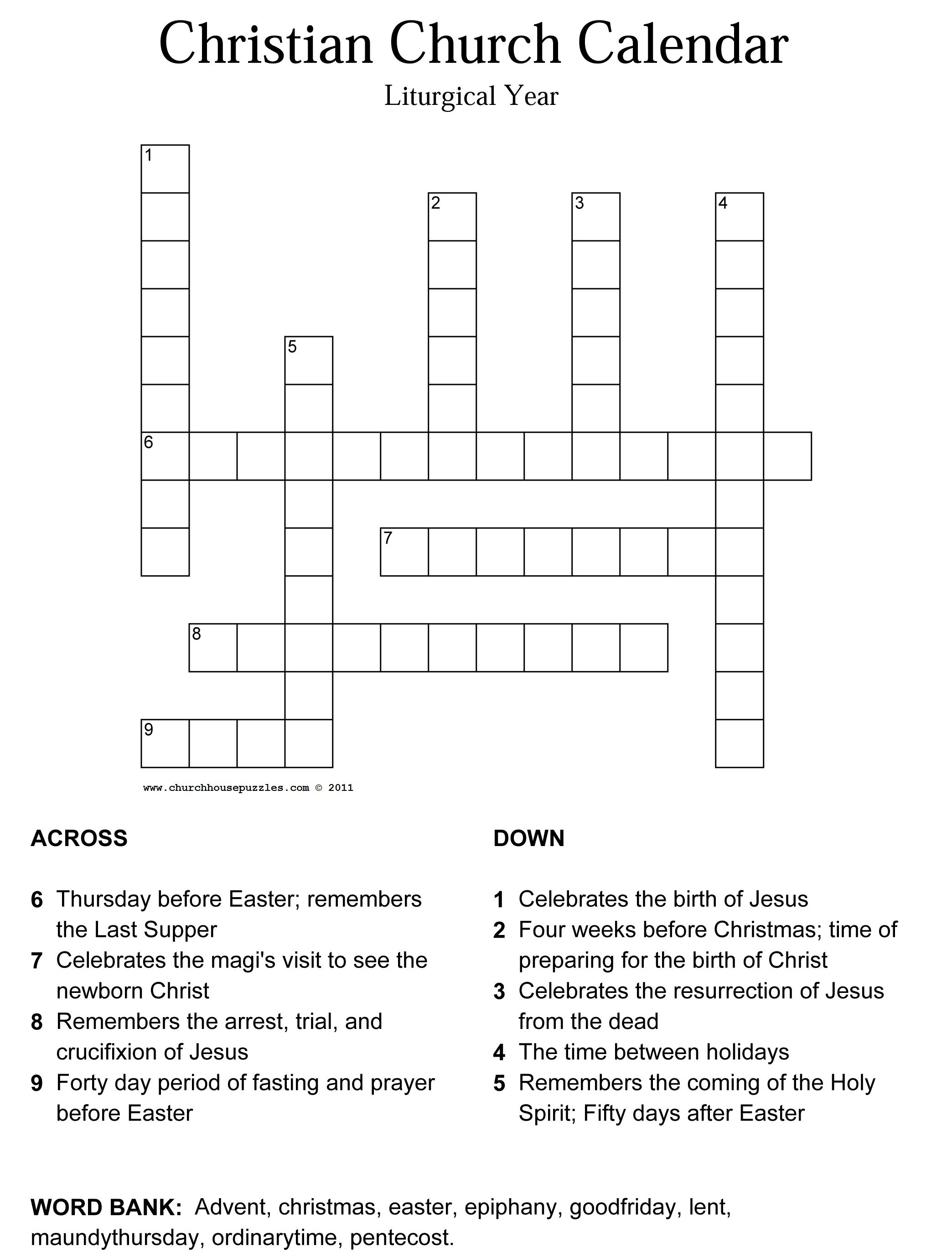 Monterotondo Page 3 : Easter Crossword Puzzle For Adults. Fun - Printable Crossword Puzzles For Tweens