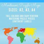 Montessori Printable   7 Continents Puzzle Map | Montessori   7 Piece Printable Puzzle