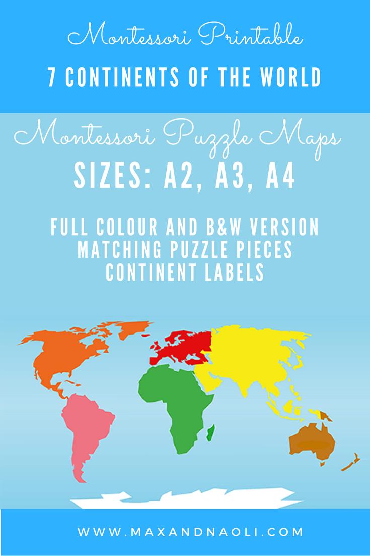 Montessori Puzzle Maps - 7 Continents Of The World | Montessori - 7 Continents Printable Puzzle