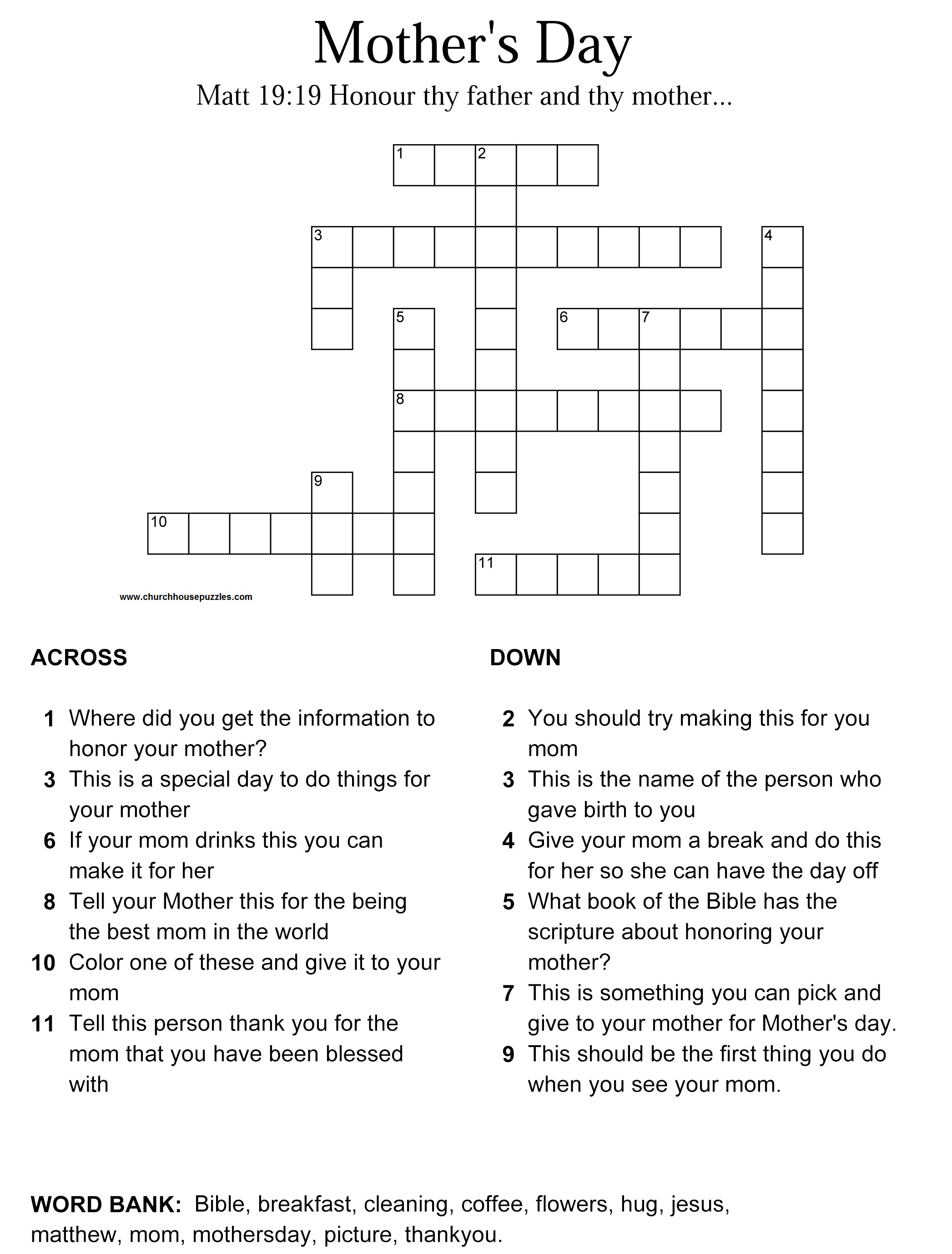 Mother's Day Crossword Puzzle - Printable Crossword Puzzle Of The Day