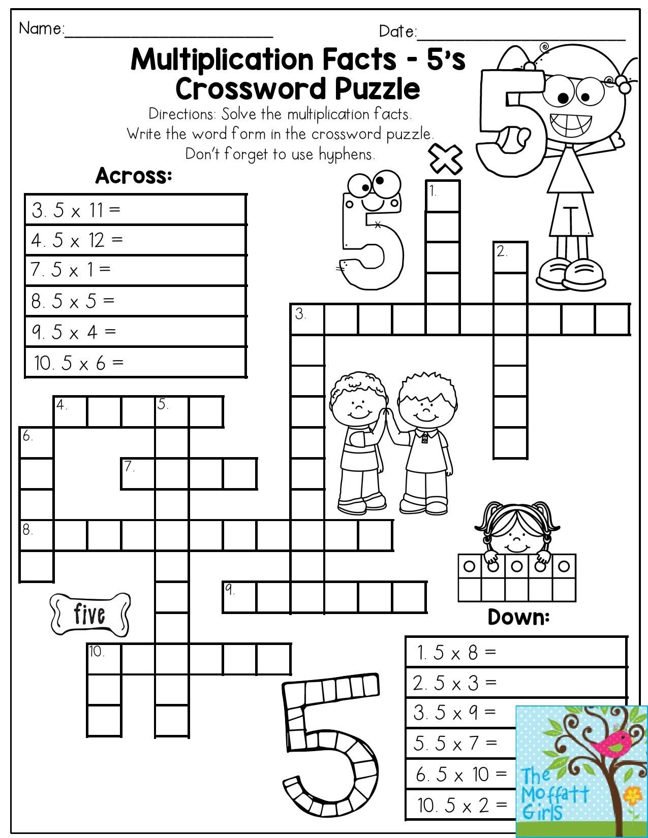 Multiplication Facts Crossword Puzzle- Third Grade Students Love - Printable Crossword Puzzles 3Rd Grade
