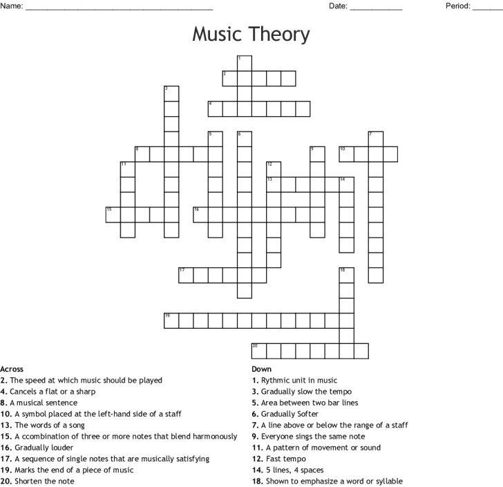Music Crossword Puzzles Printable