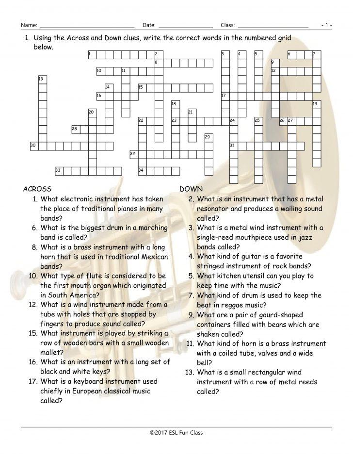 Printable Esl Crossword Worksheets