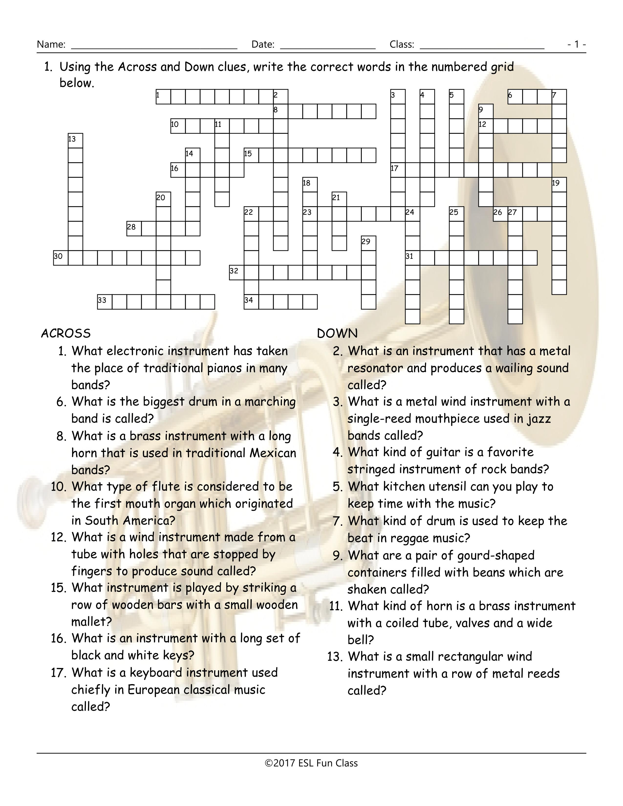 Musical Instruments Crossword Puzzle Worksheet-Esl Fun Games-Have Fun! - Printable Esl Crossword Worksheets