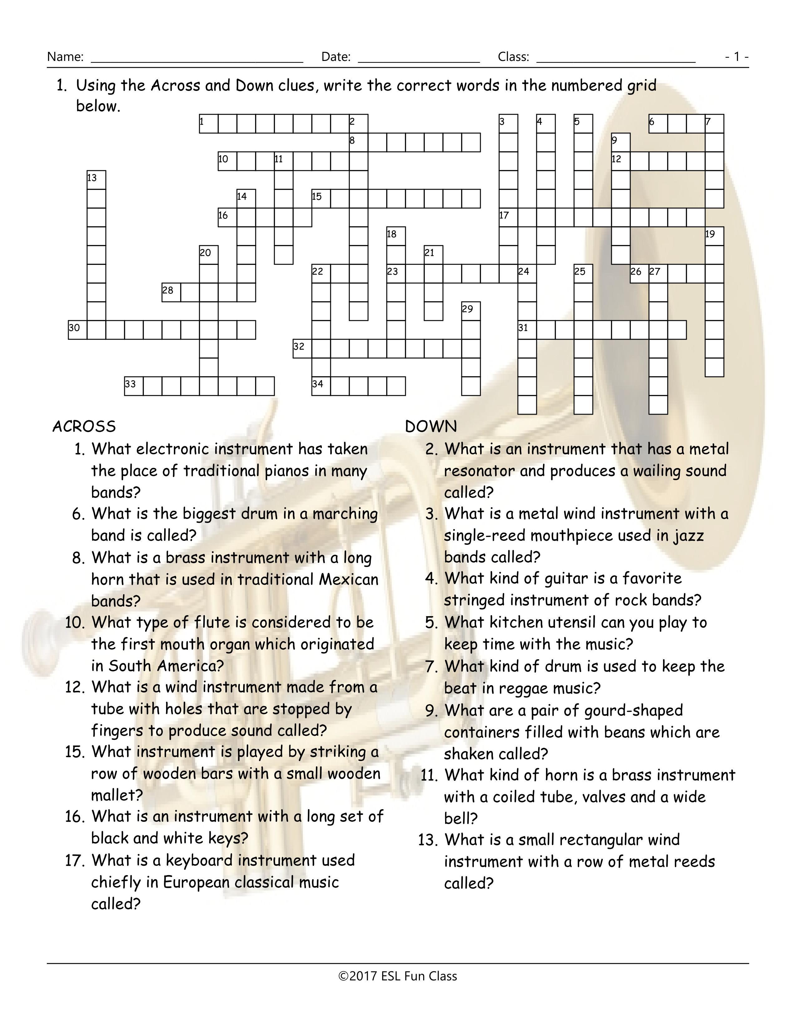 Musical Instruments Crossword Puzzle Worksheet-Esl Fun Games-Have Fun! - Vocabulary Crossword Puzzle Printable