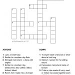 Musical Instruments In The Bible Crossword With Answer Sheet   Printable Crossword Puzzles Music