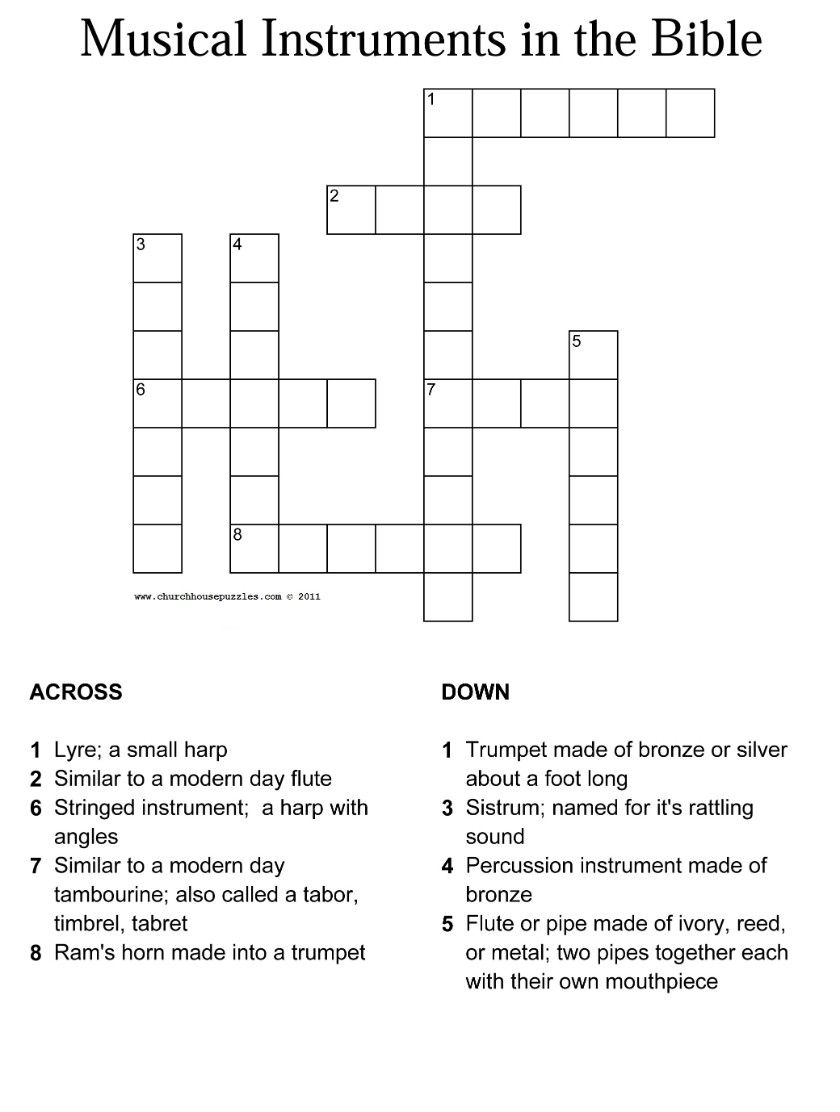 Musical Instruments In The Bible Crossword With Answer Sheet - Religious Crossword Puzzles Printable
