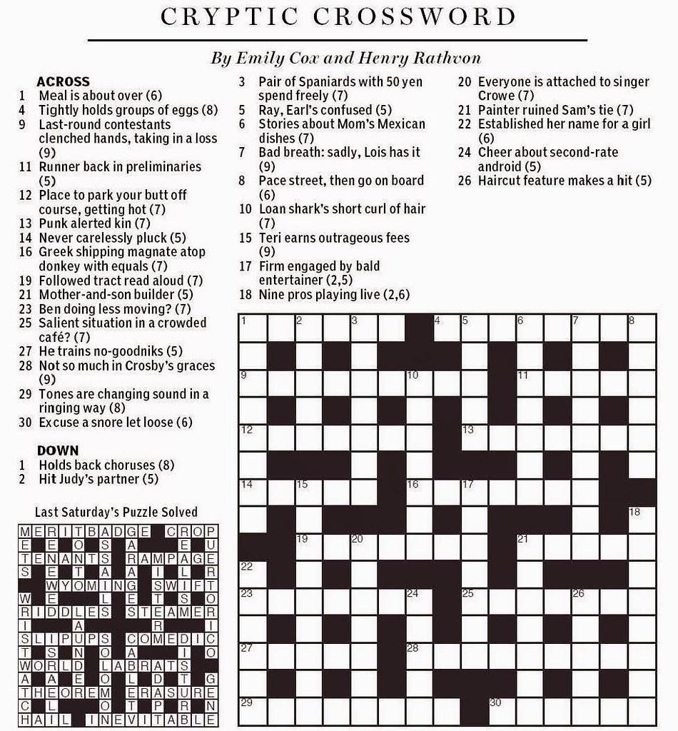National Post Cryptic Crossword - Cox & Rathvon August 9, … | Flickr - Printable Crossword Puzzles Boston Globe