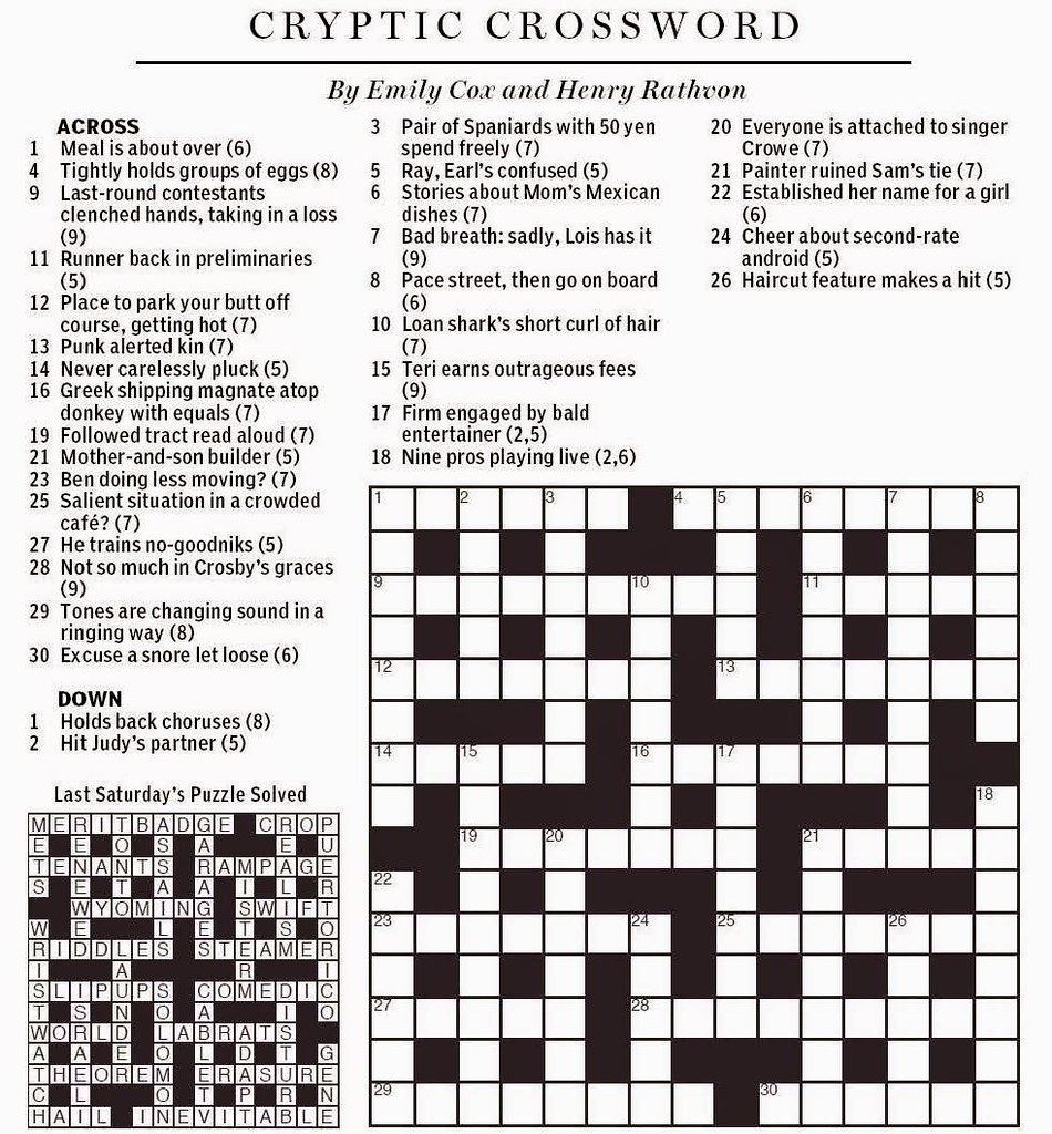 National Post Cryptic Crossword - Cox & Rathvon August 9, … | Flickr - Printable Cryptic Crossword