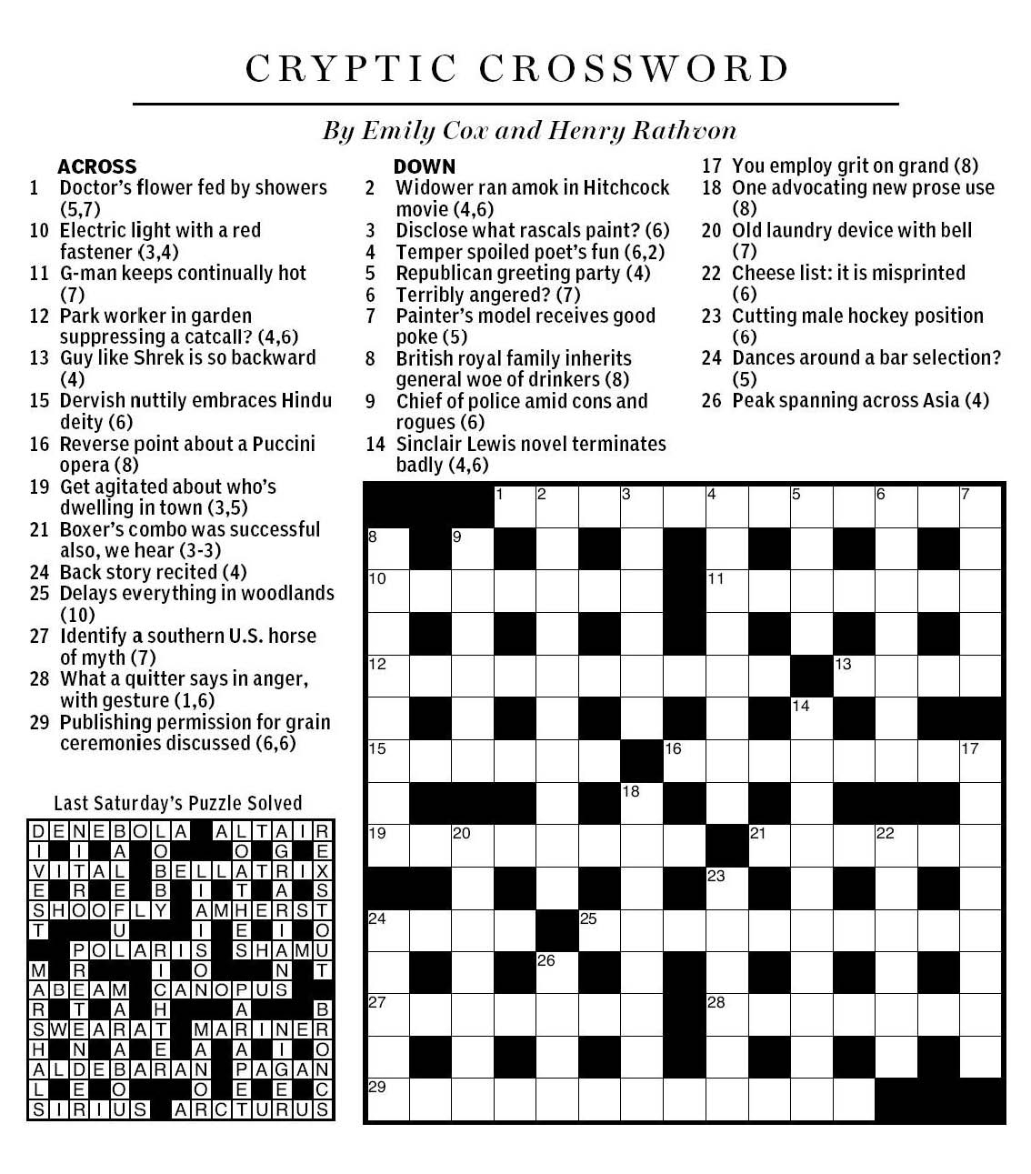 National Post Cryptic Crossword Forum: June 2013 In Mr. X 4 - Printable Cryptic Crossword
