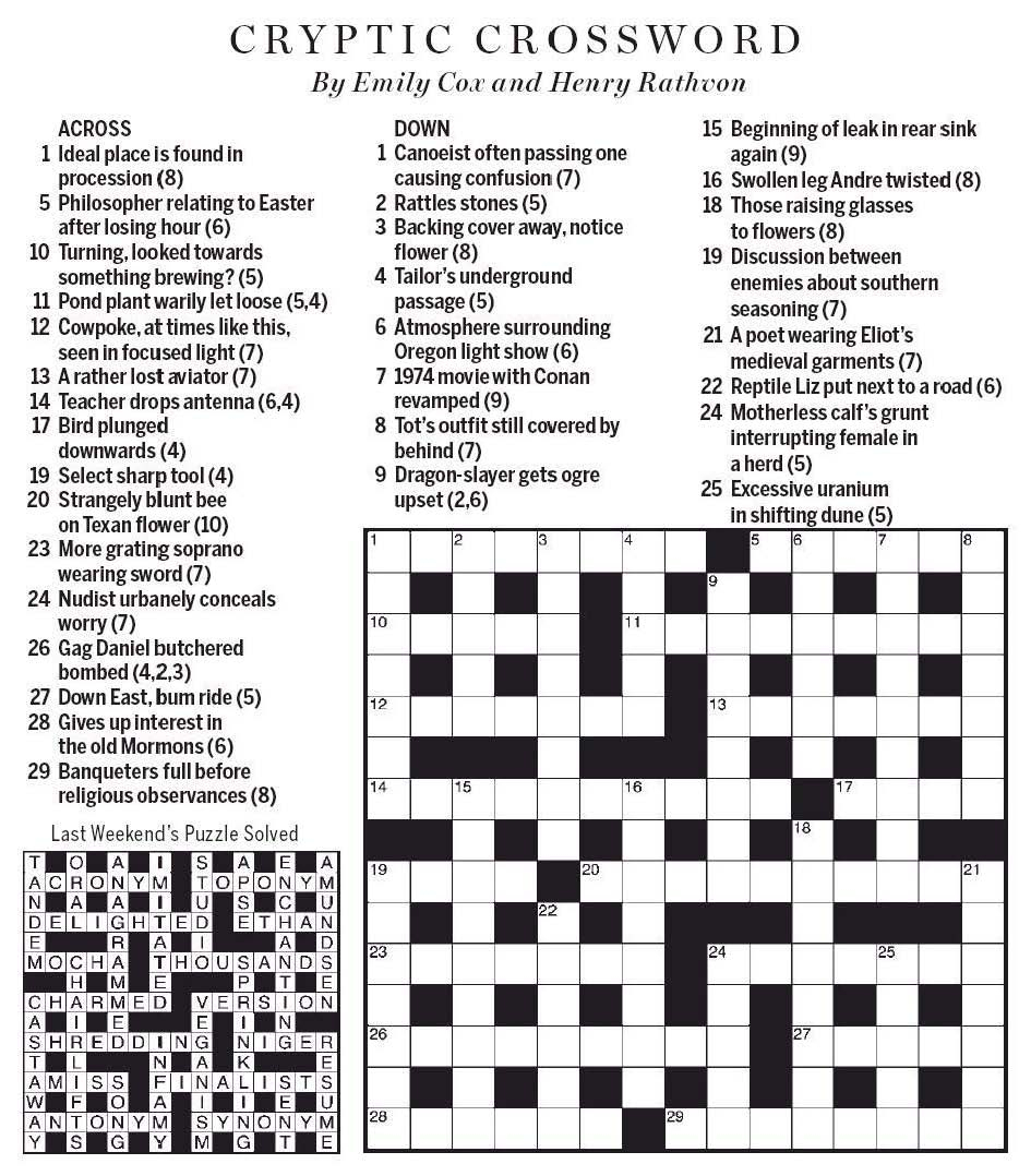 graphic about Cryptic Crosswords Printable identified as Crossword - Wikipedia - Printable Telegraph Crossword