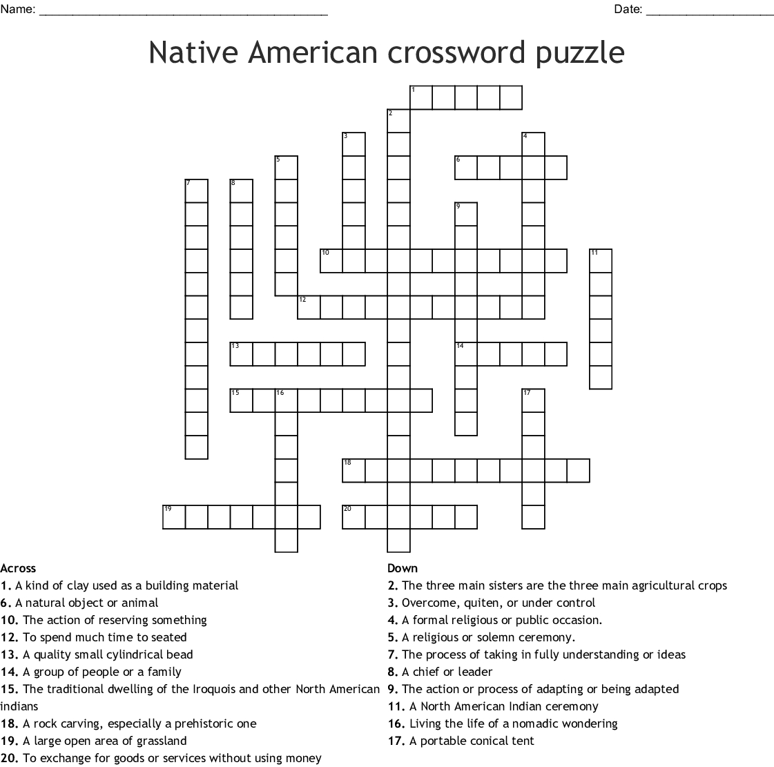 Native American Crossword Puzzle Crossword - Wordmint - Native American Crossword Puzzle Printable